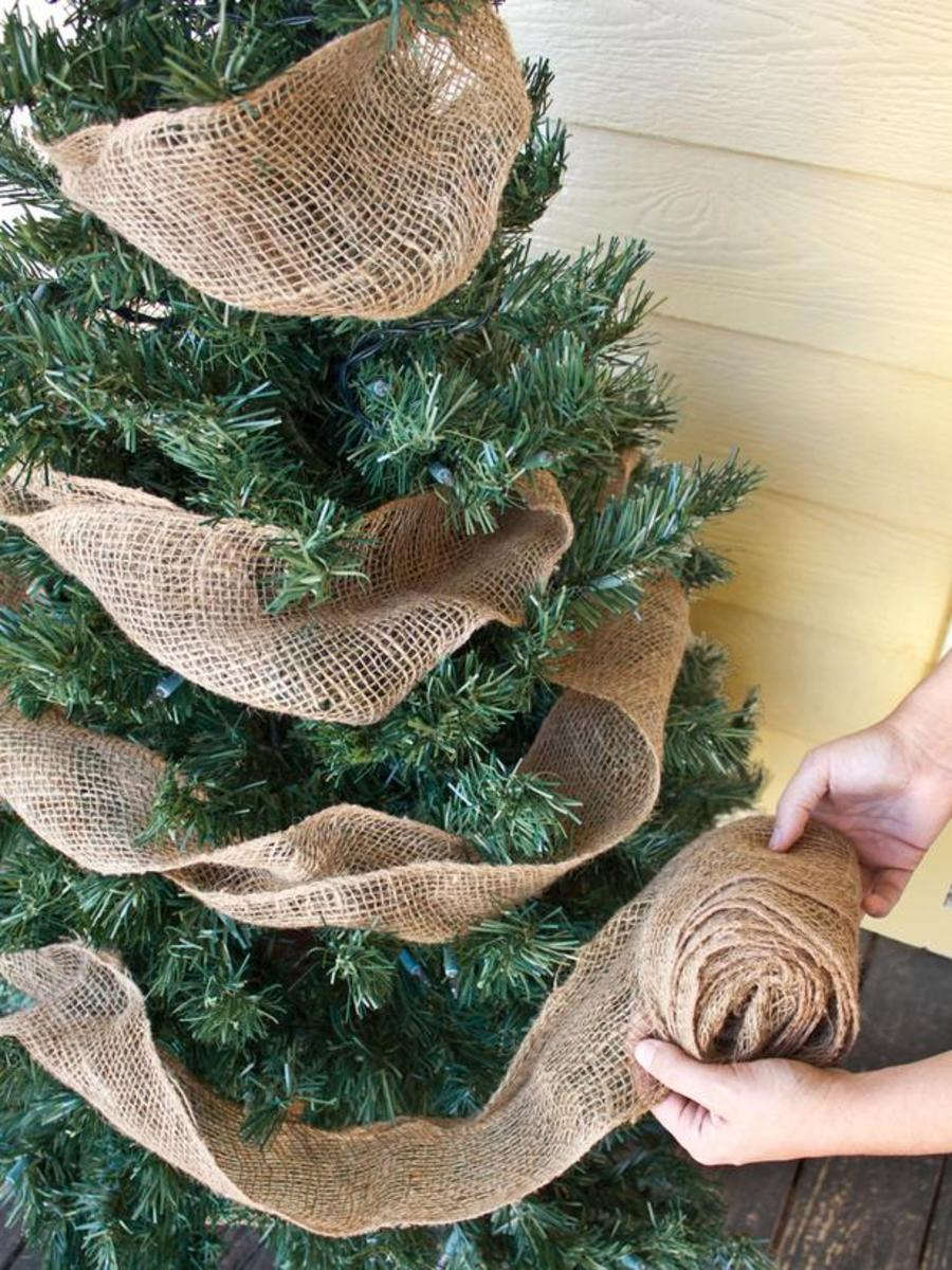 Burlap garland on Christmas tree