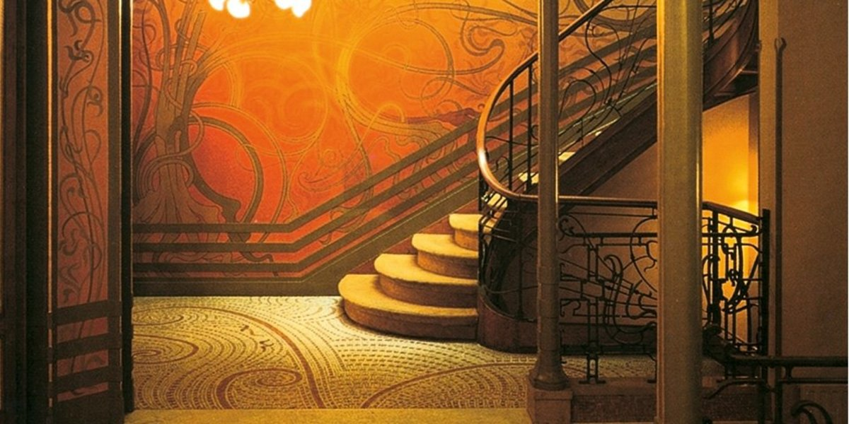 Detail from book described below. Picture shows Art Nouveau Architect Victor Horta's Tassel House stairway in Brussels.
