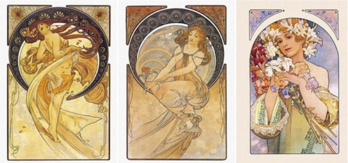 From left to right: Dance, Painting, and Flower by Alphonse Mucha.