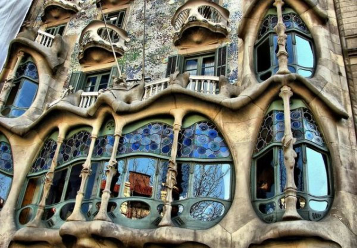 The facade of the Casa Batllo (1904-1907) in Barcelona, Spain. Designed by Spanish architect Antoni Gaudi.