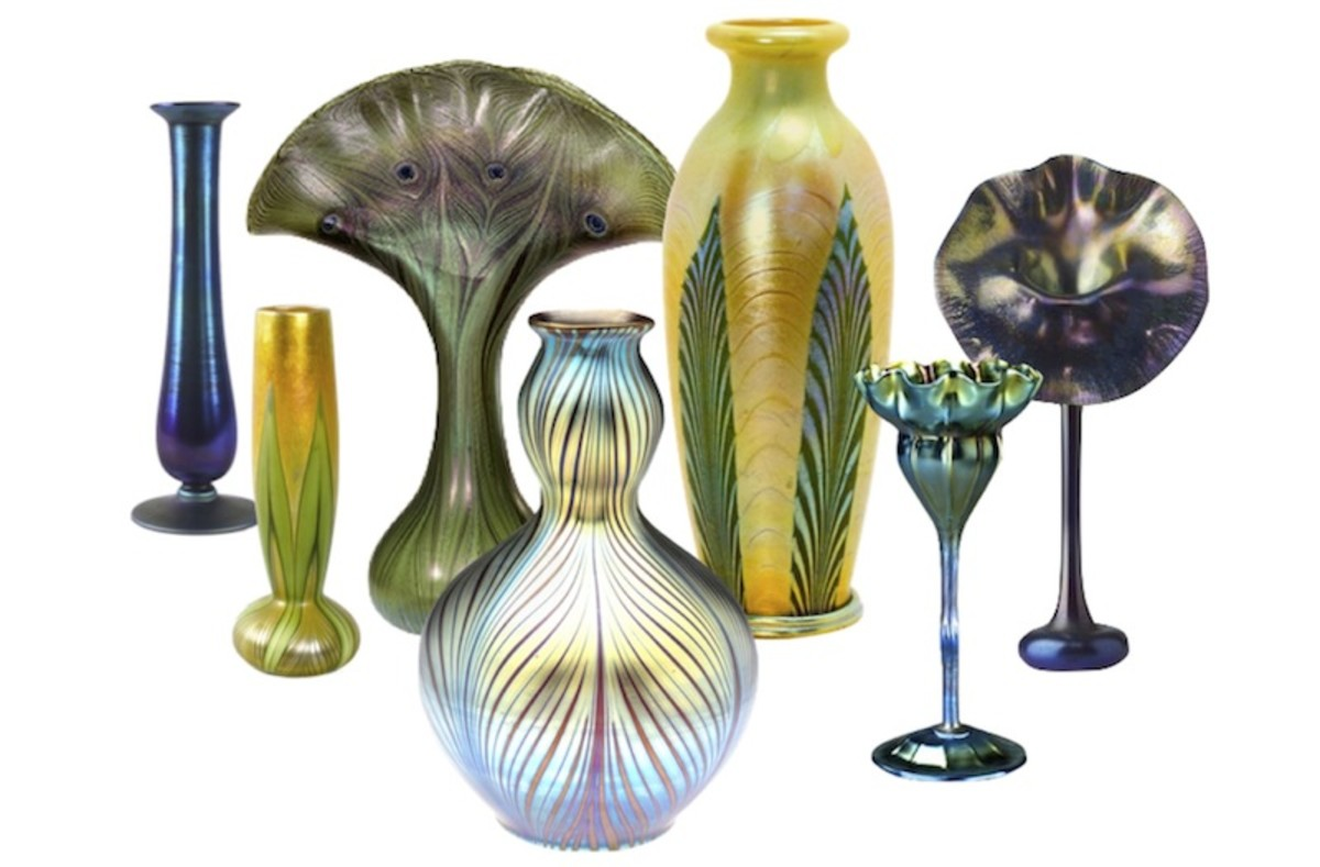 Some examples of Louis Comfort Tiffany's blown glass