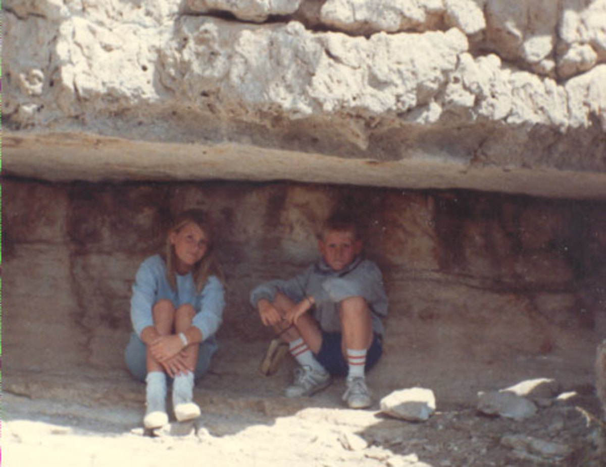 Jason and Sarah in cliff Dwelling at Mesa Verde National Park, 1987