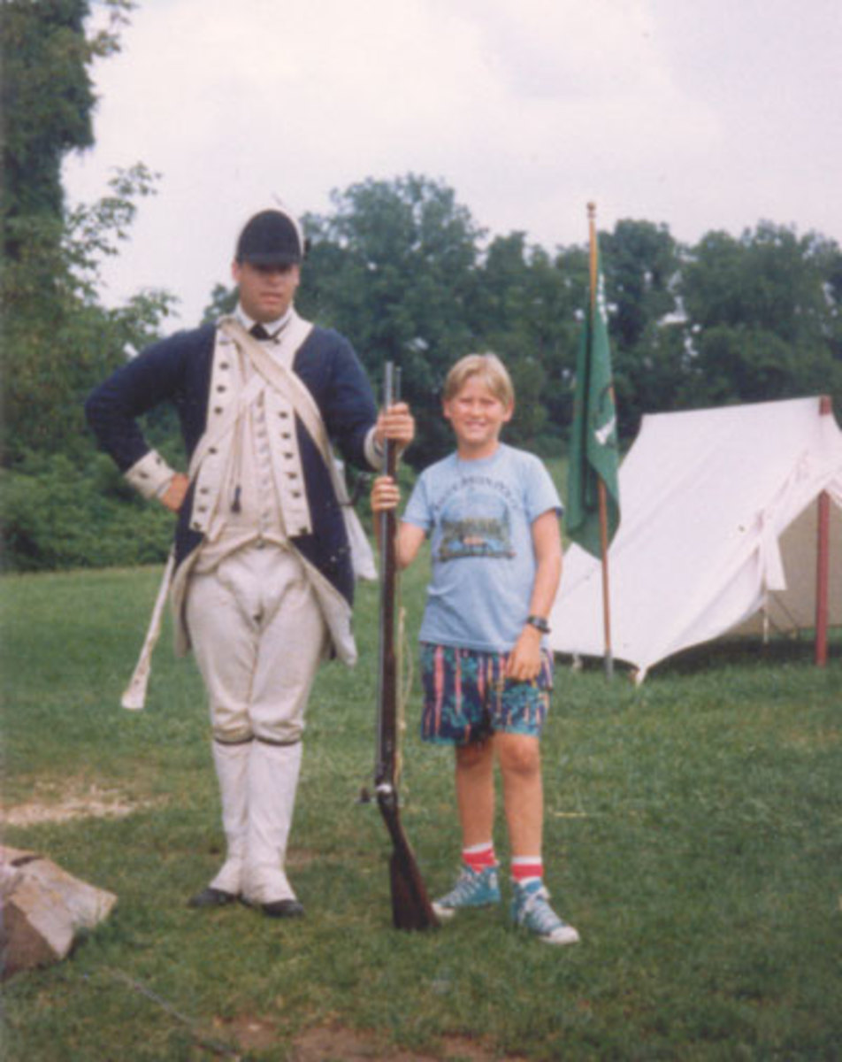 Jason with soldier at Valley Forge on the way to Massachusetts.