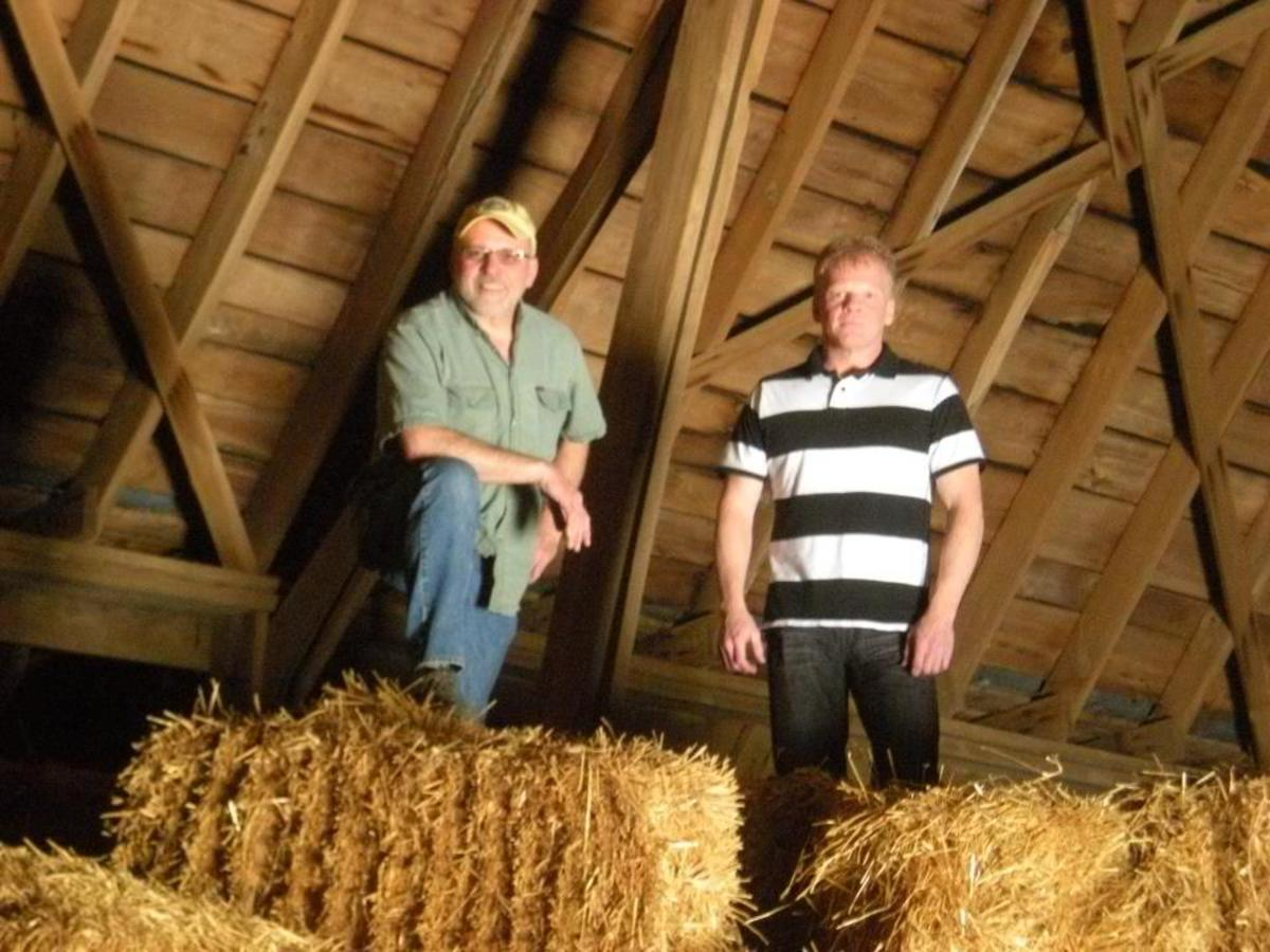 My brother, Kerry, and me in the old barn, summer 2012.