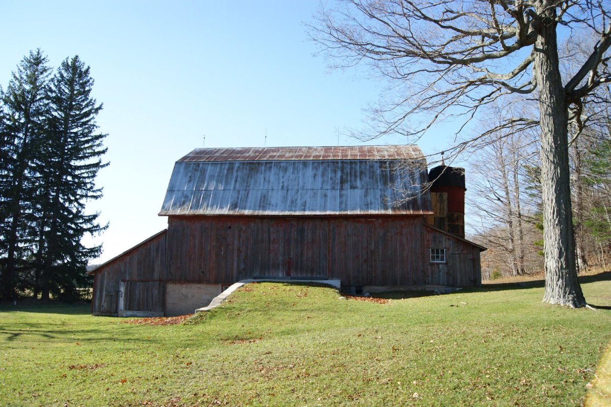 The ramp provided allowed the farmer to pull hay wagons and other pieces of farm equipment into the barn for storage.