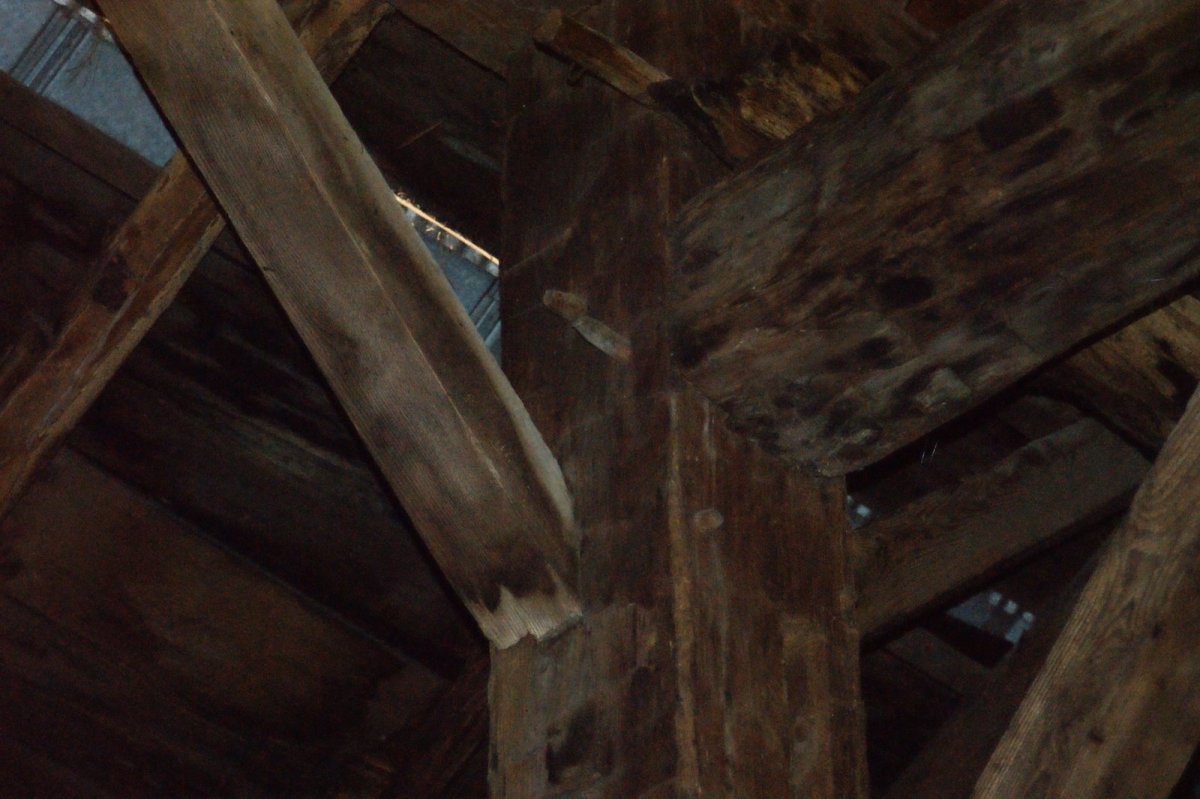 Notice the wooden pegs which help to secure the timber frame joints.