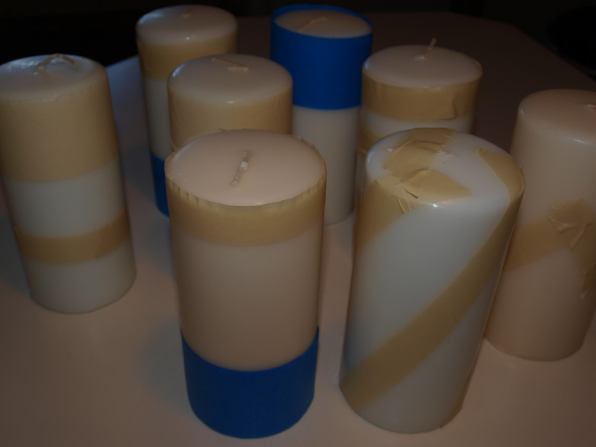 Figure 1 - Tape candles in desired ways.  Untaped areas can be painted.