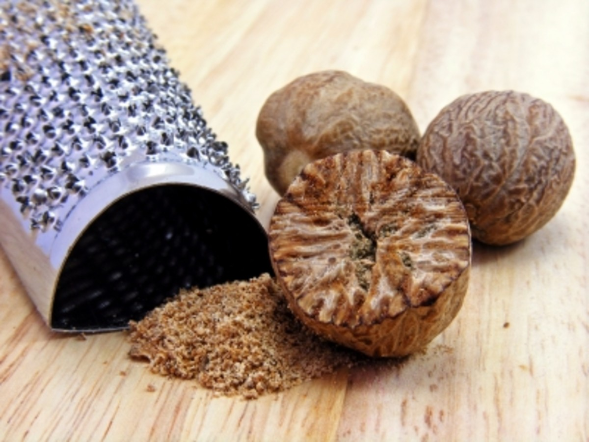 nutmeg is a common kitchen cupboard ingredient that works well with woody earthy  ingredients like pine twigs.