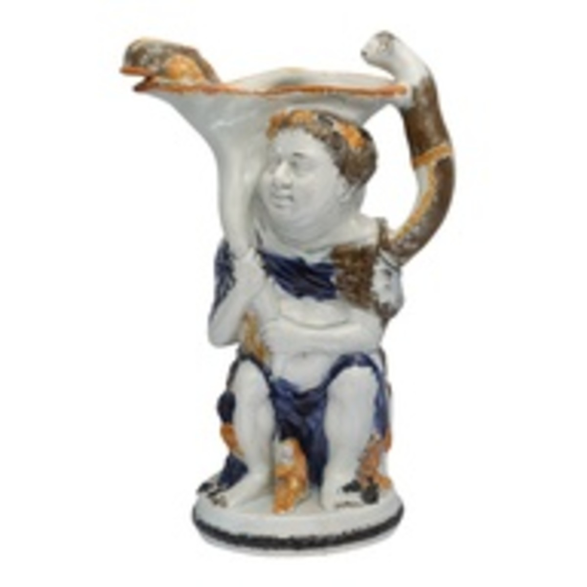 This is a rare and very early Pratt toby jug depicting Bacchus, God of Wine.