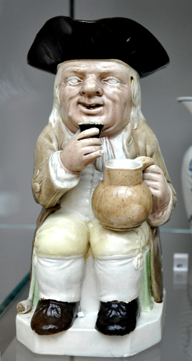 This is a classic toby jug made by Ralph Wood the younger.  He and his father both contributed greatly to the toby jug movement.