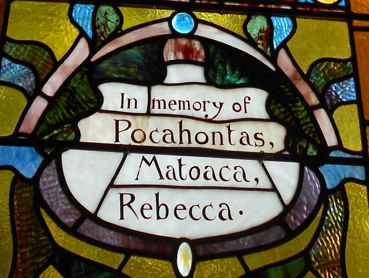 A stained glass window installed to honour Pocahontas (also showing her Christian name of Rebecca)