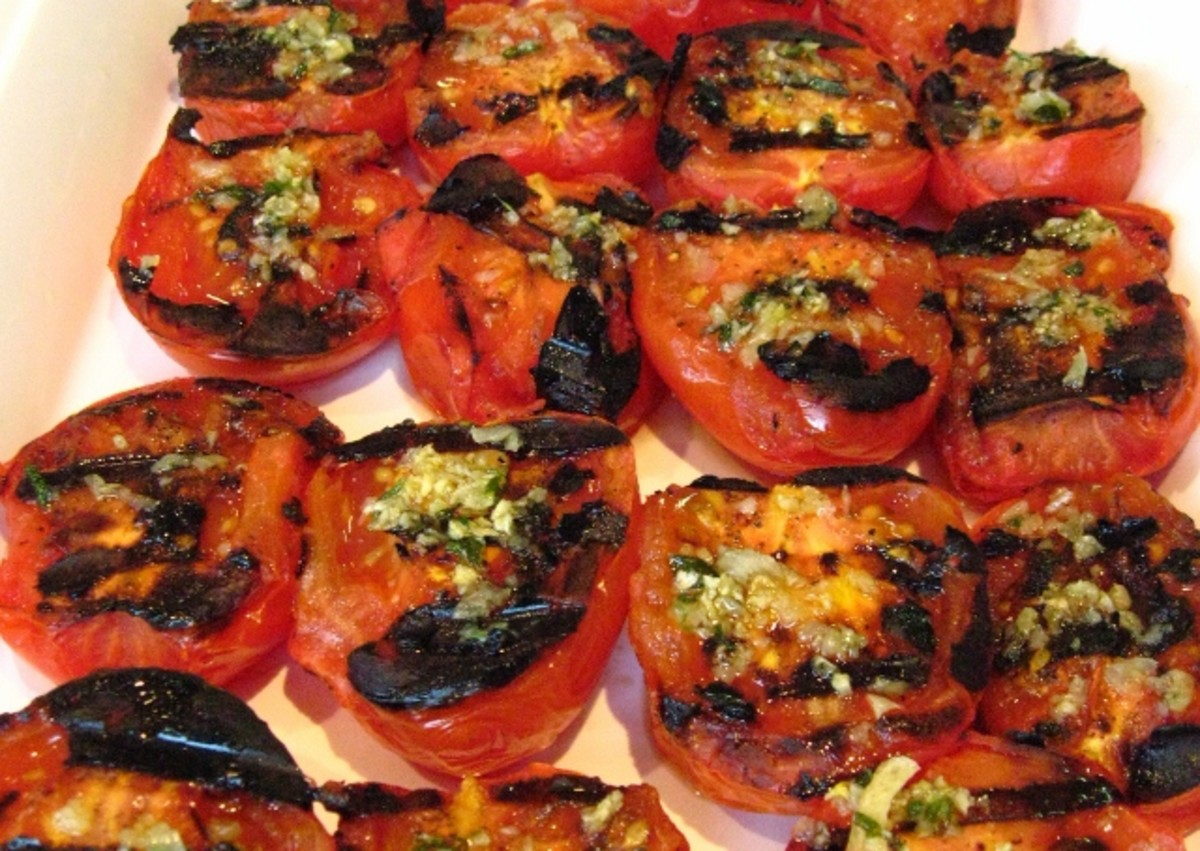 Garlic Grilled Tomatoes,  a tasty veggie addition to any meal.