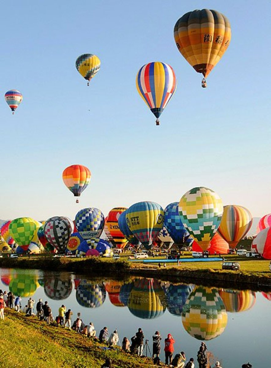 Colorful Hot Air Balloons in Japan