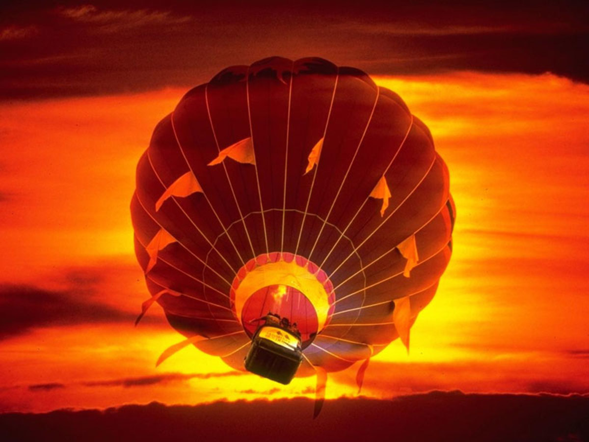 Hot Air Balloon at Day Break with Orange and Yellow