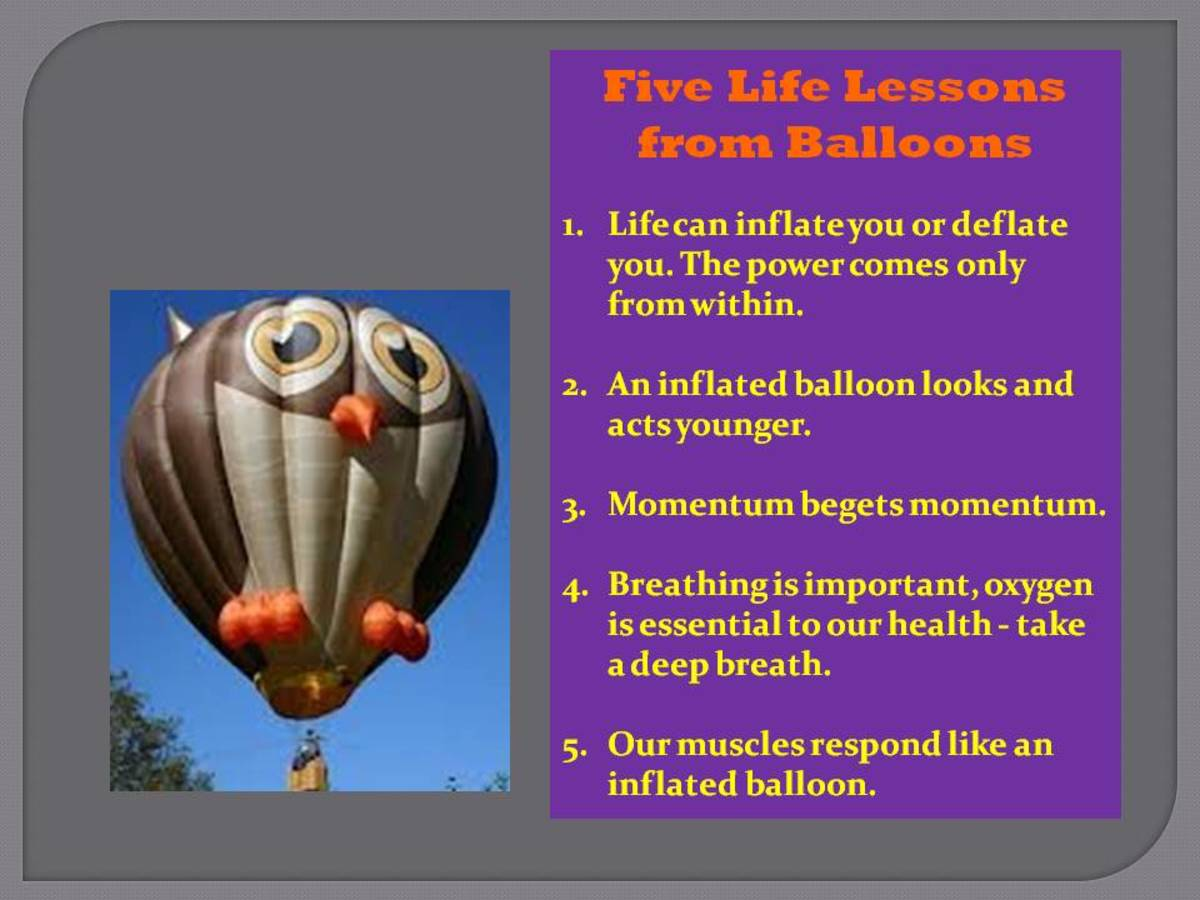 Five Life Lessons From Balloons Colorful Poster with a Grey Owl Balloon