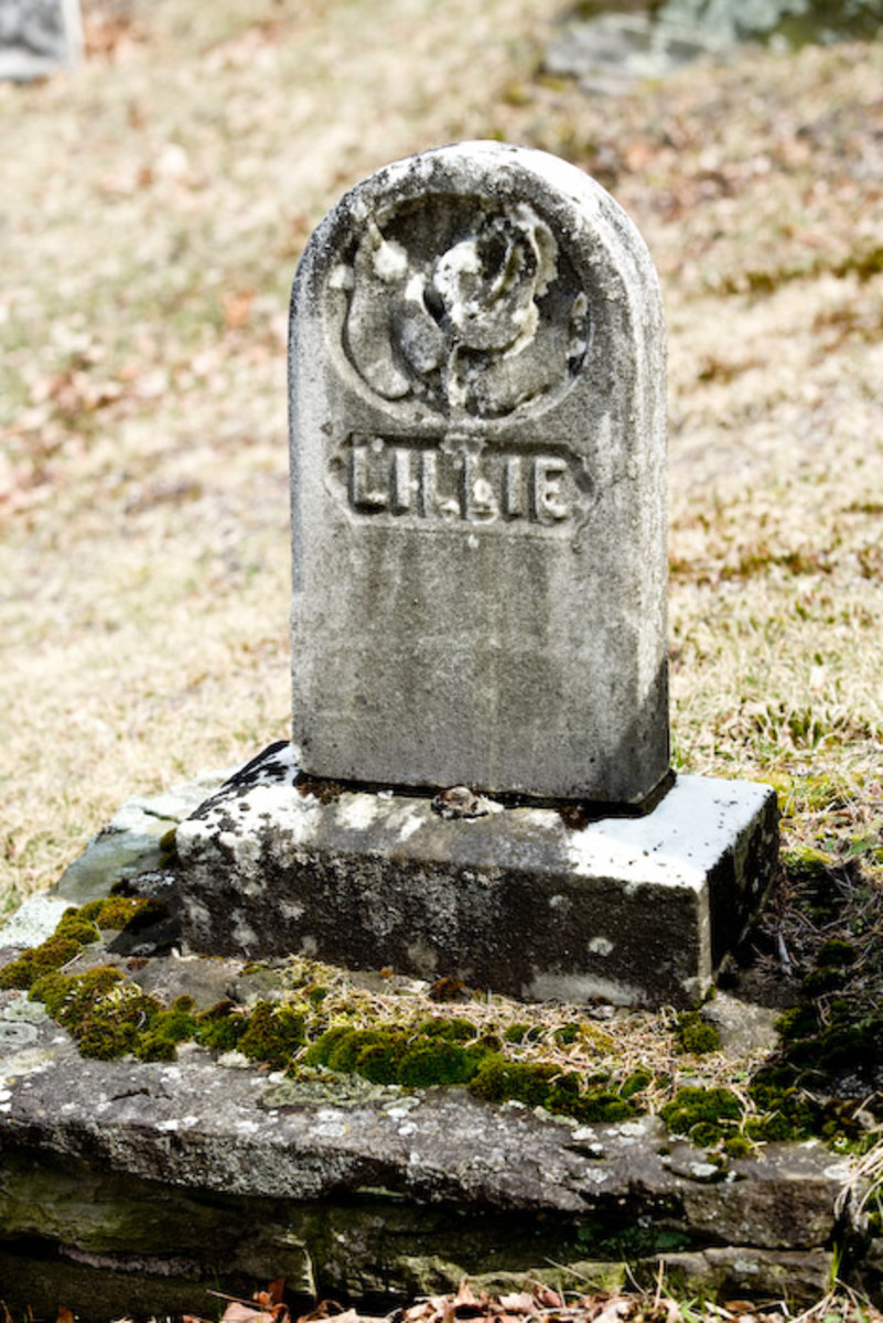 """This old domed tablet headstone sets on a base and simply has the name """"Lillie"""". The rosebud carving at the top indicates a young life. The small size of the stone further suggests a very young child or baby."""