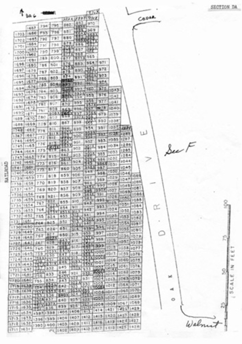 Section map for cemetery