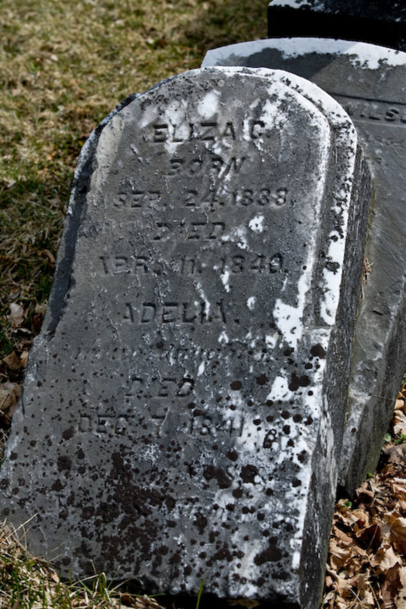 "Occasionally, you'll find a marker with several first names only with dates. Looking closely, under the name ADELIA it says ""infant daughter"". Other inscriptions may tell you the last name, or if the marker is part of a family plot."