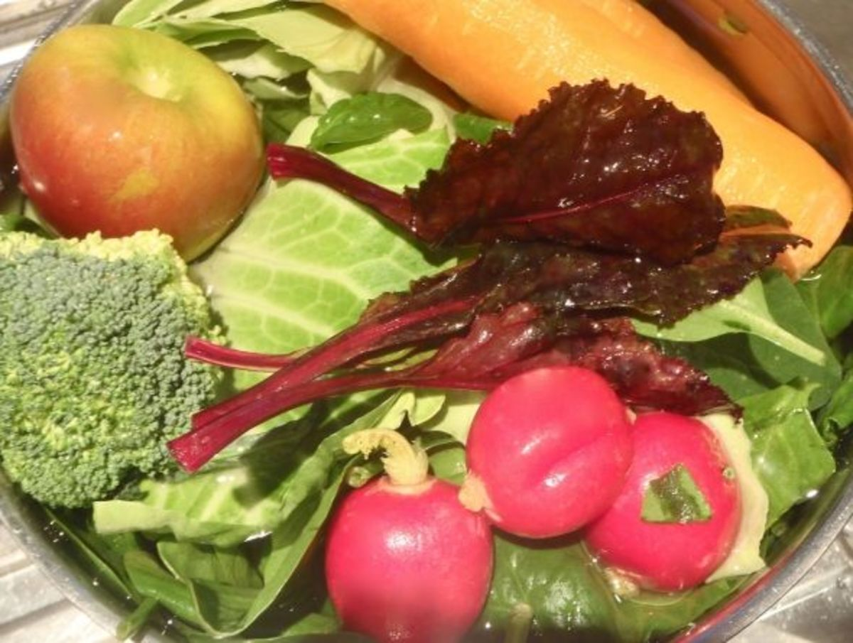 My green juice veggies - not all green you'll notice!
