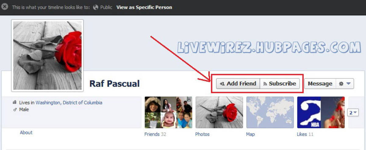 2. Add Friend and Subscribe button