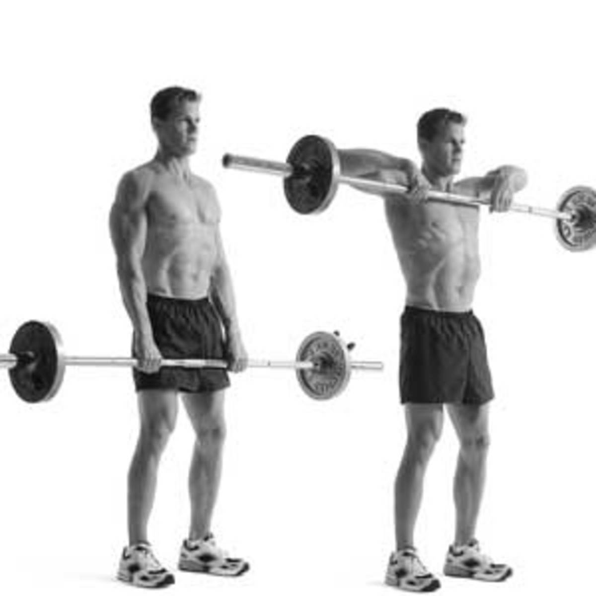 Upright barbell row. Lift the barbell up to the top of your chest, but don't rest it there, and hold for about a second and release, repeat.