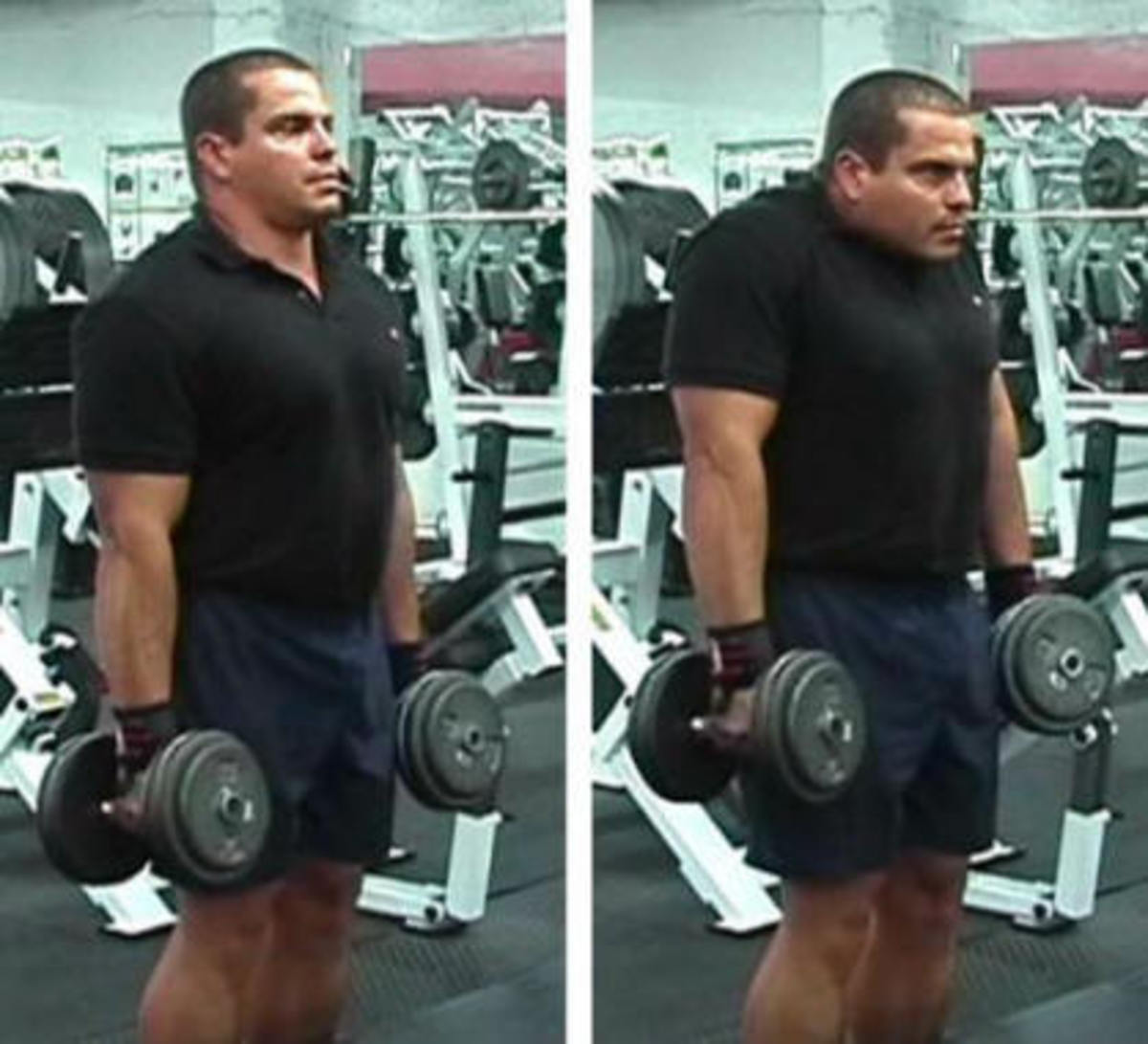 Dumbbell shrug. Hold shrug for at least a second 2.