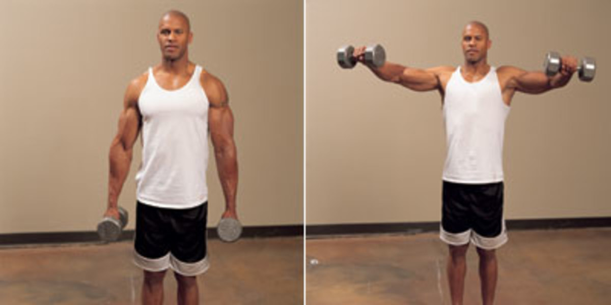Lateral deltoid raises with dumbbells
