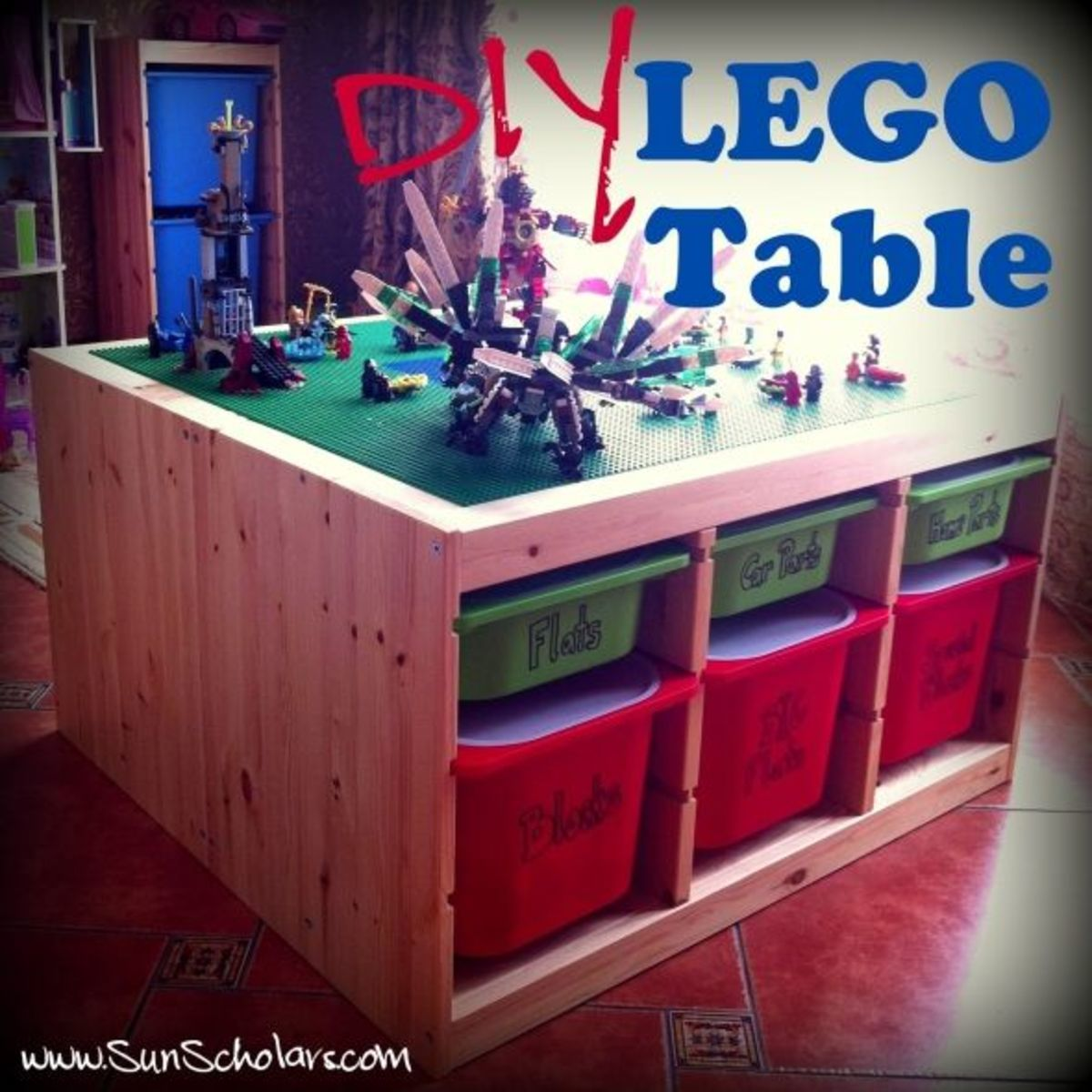 This DIY Lego Table created by www.sunscholars.com was made using pieces bought from Ikea. It is the Trofast line combined together to create this AWESOME set up.