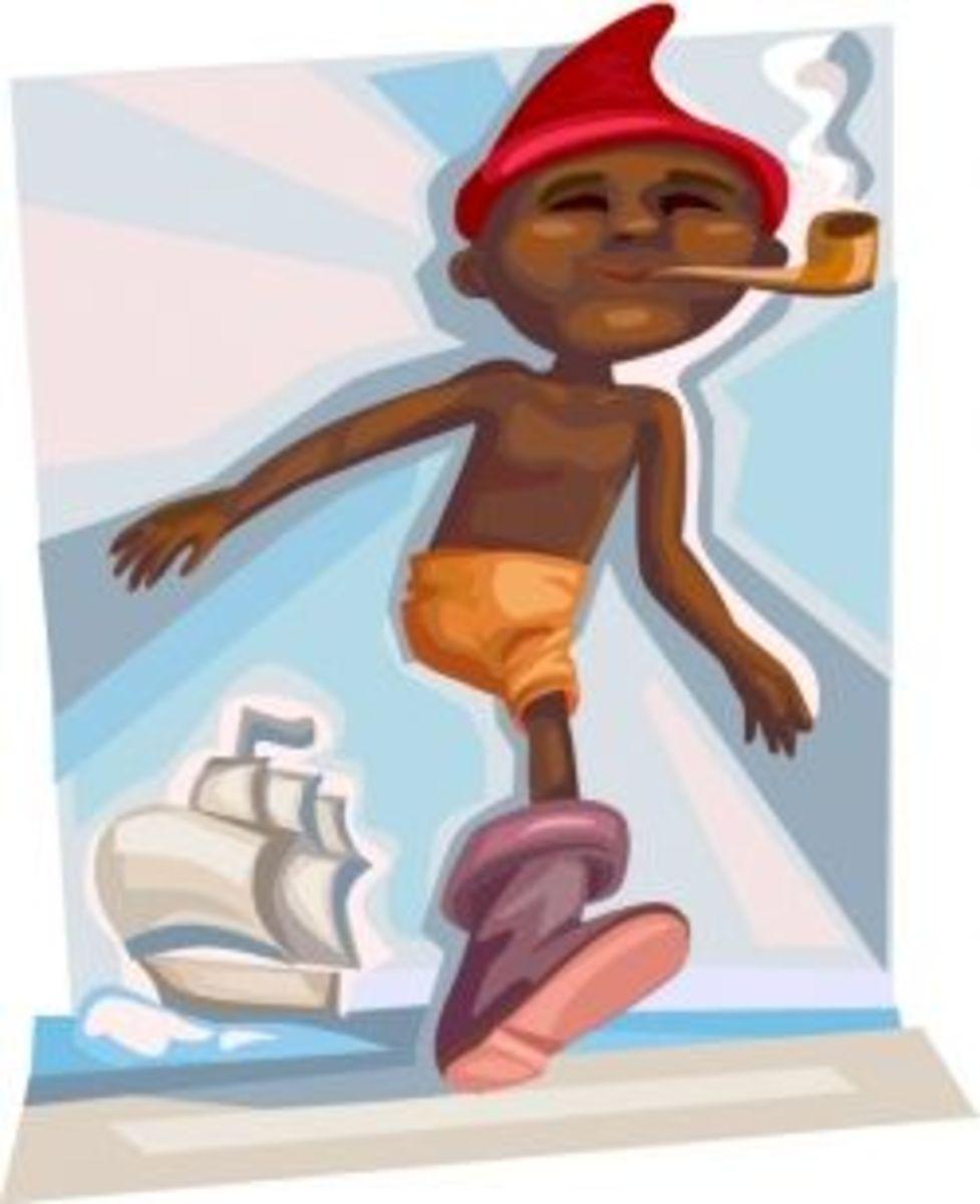 A depiction of Saci at sea.