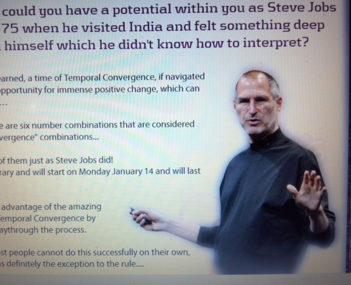 Steve Jobs' image is used (probably illegally) to sell numerologysecret.com.