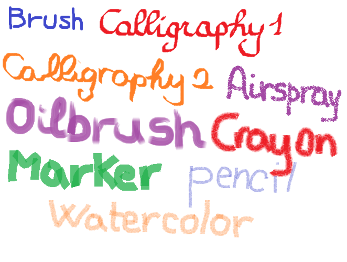 Brush types in Microsoft paint