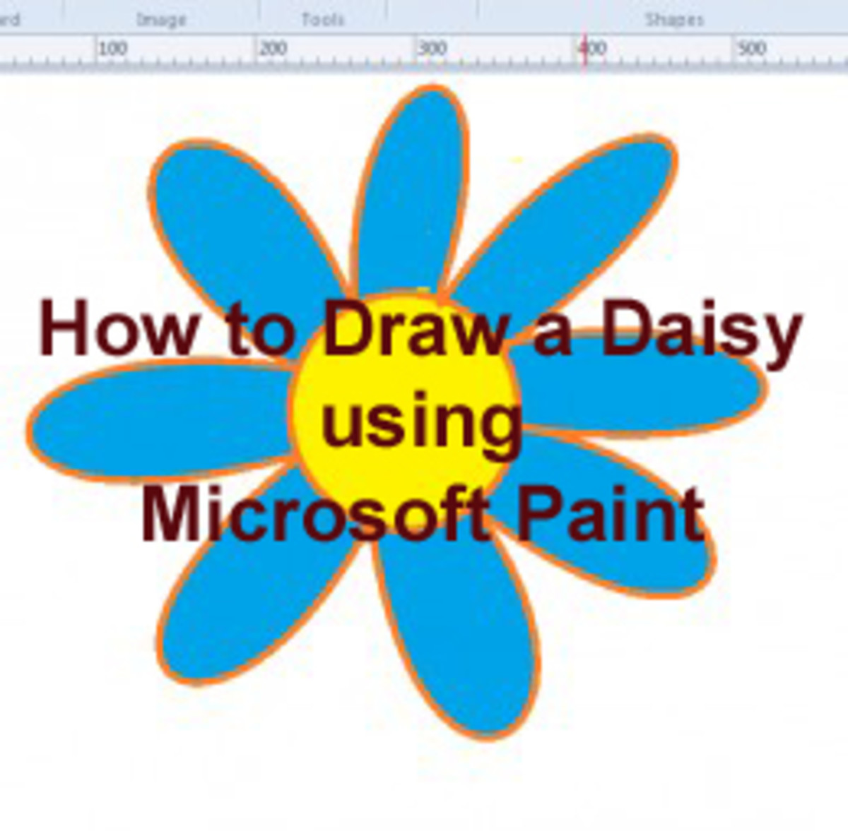 A daisy drown in Microsoft paint