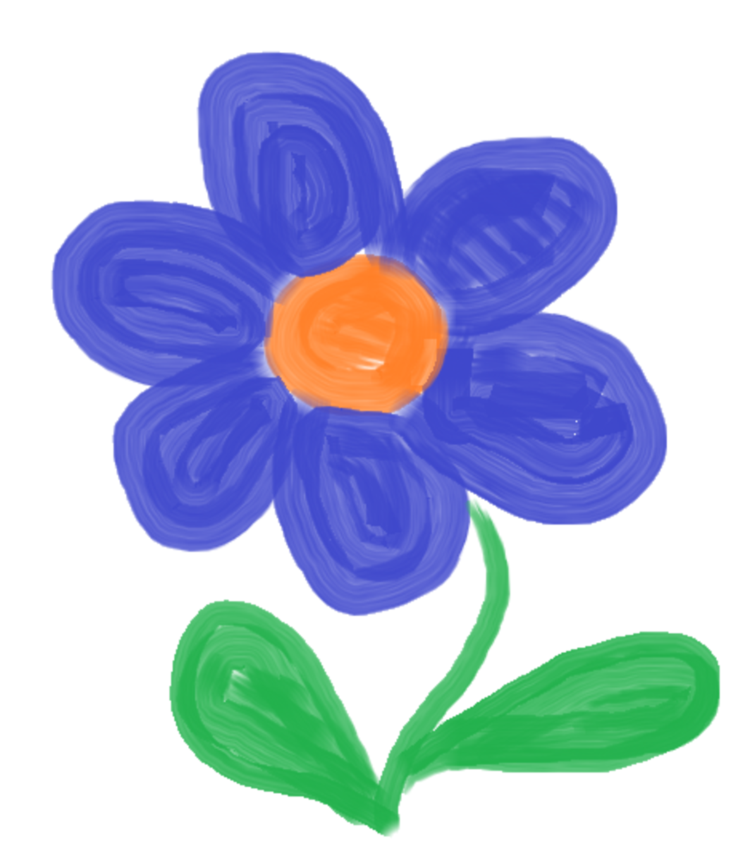 Daisy drown free hand using the oil brush tool in Microsoft Paint