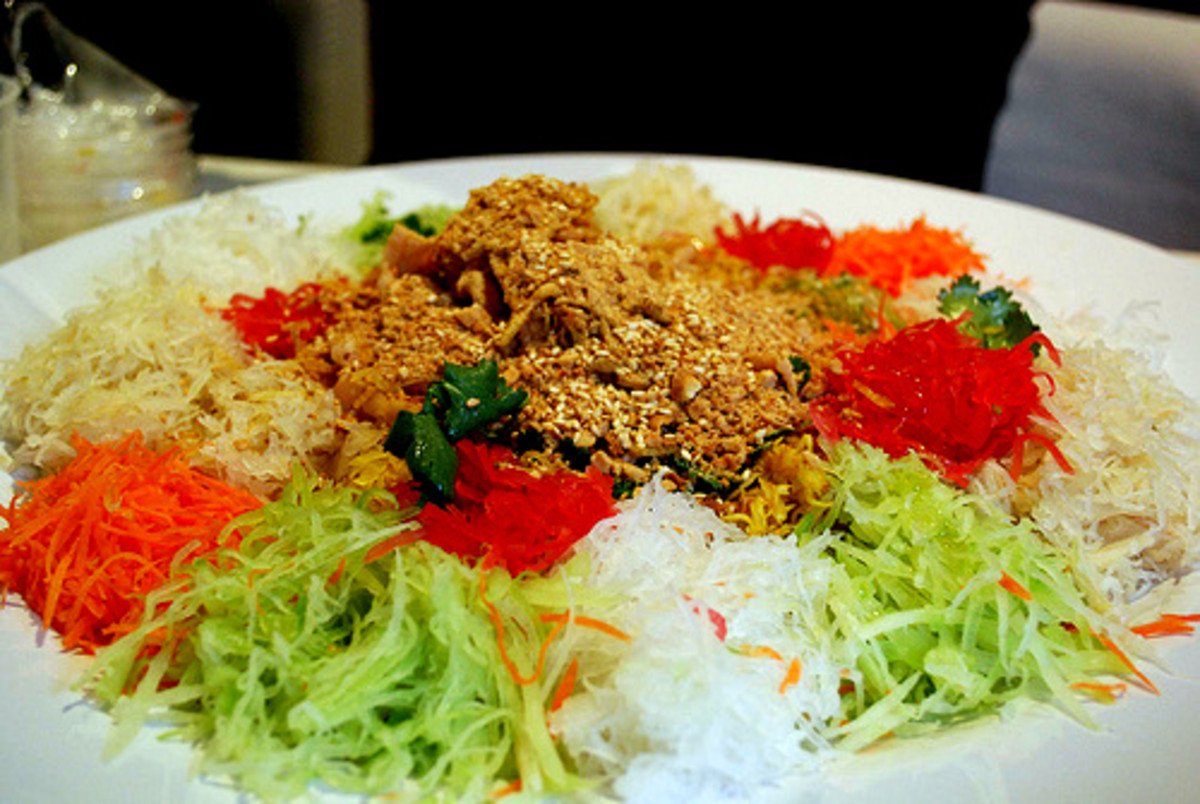 Yee sang's base ingredients before they are mixed and tossed