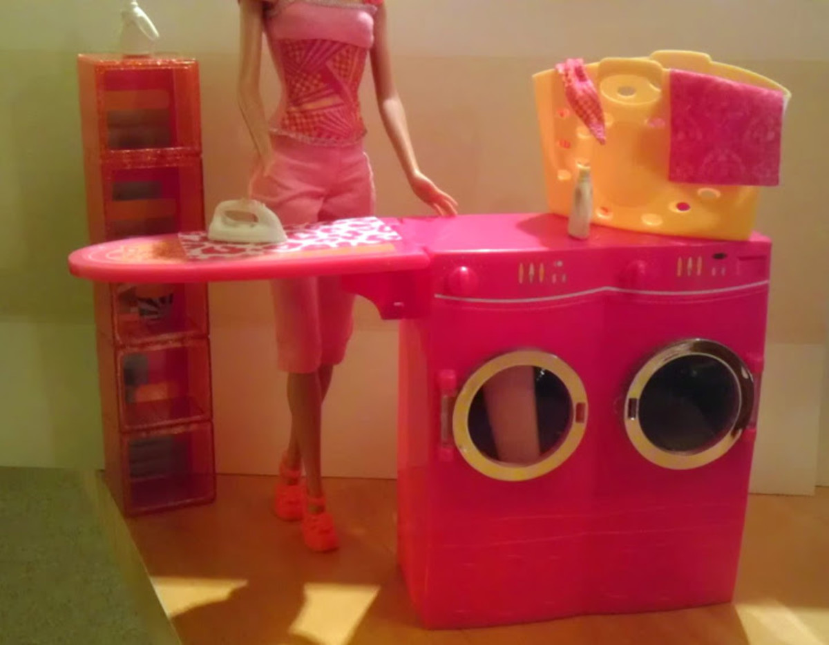 Spin to Clean is a full laundry center for Barbie.