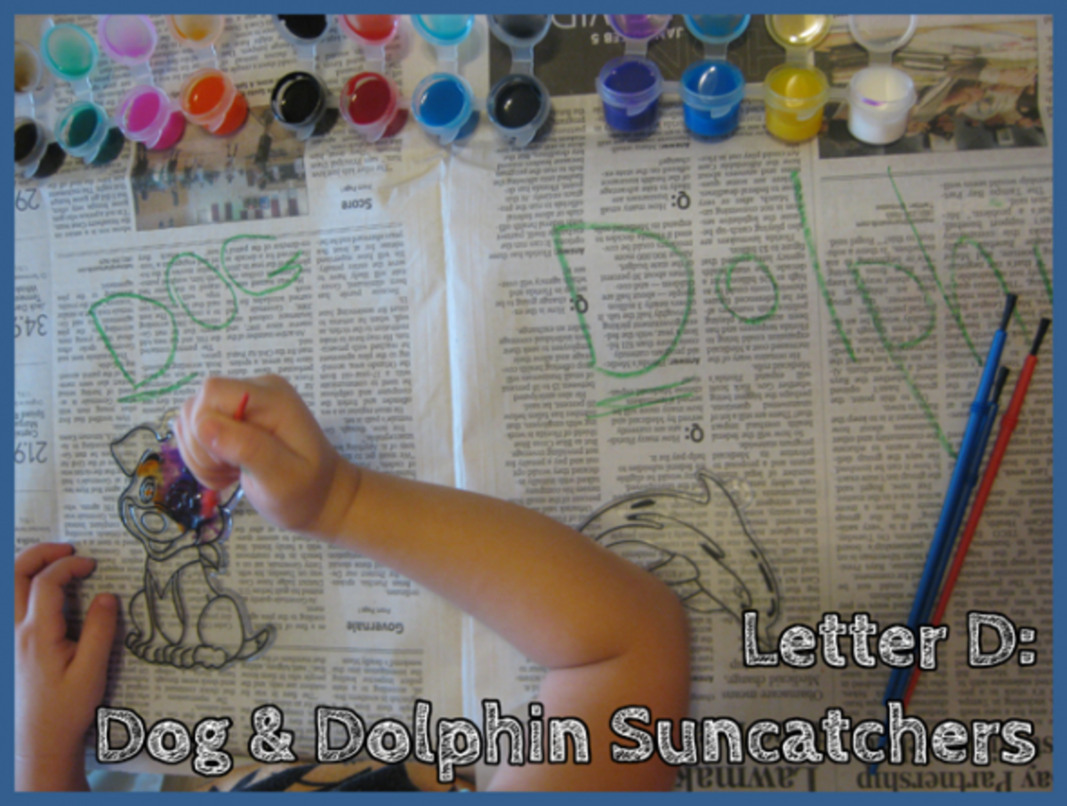 Letter D Alphabet Activities Dog and Dolphin Suncatchers