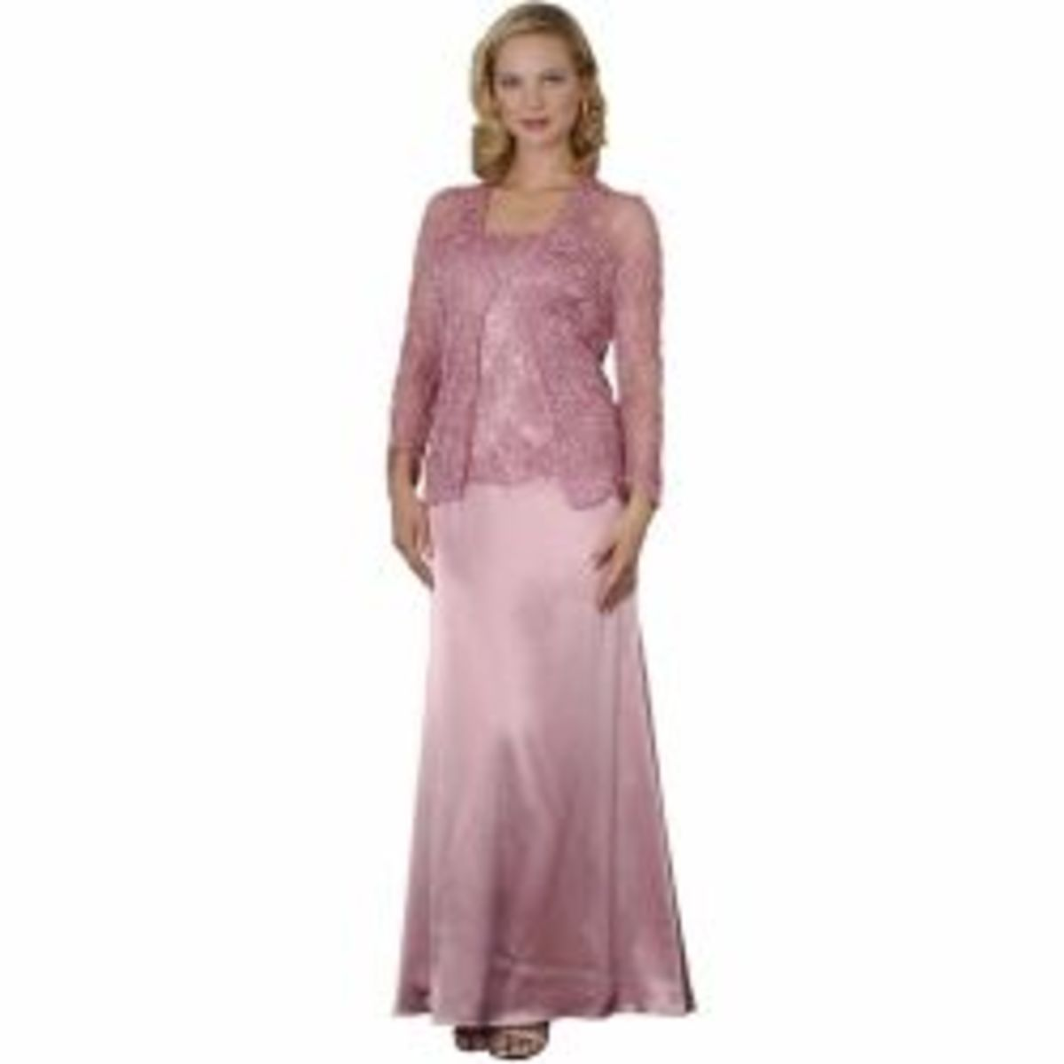 Rose Crochet Formal Evening Dress and Jacket - Mother of Bride & Groom Dress