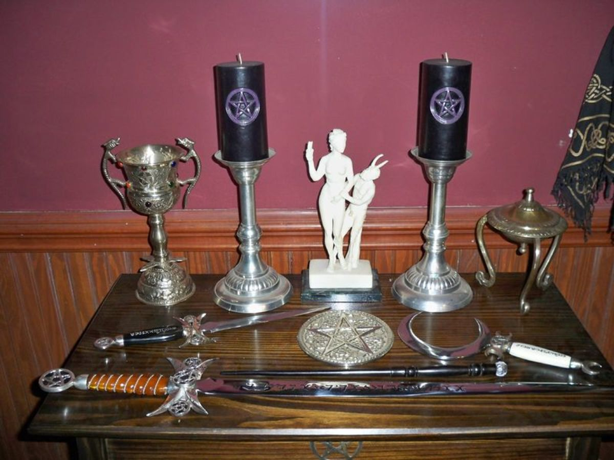 A sample of Wiccan altar tools.