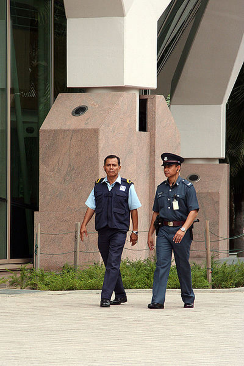 A CISCO officer and security guard conducting routine patrols around the Esplanade's grounds