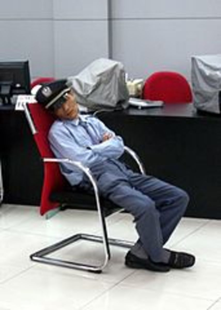 Security guard sleeping on duty.