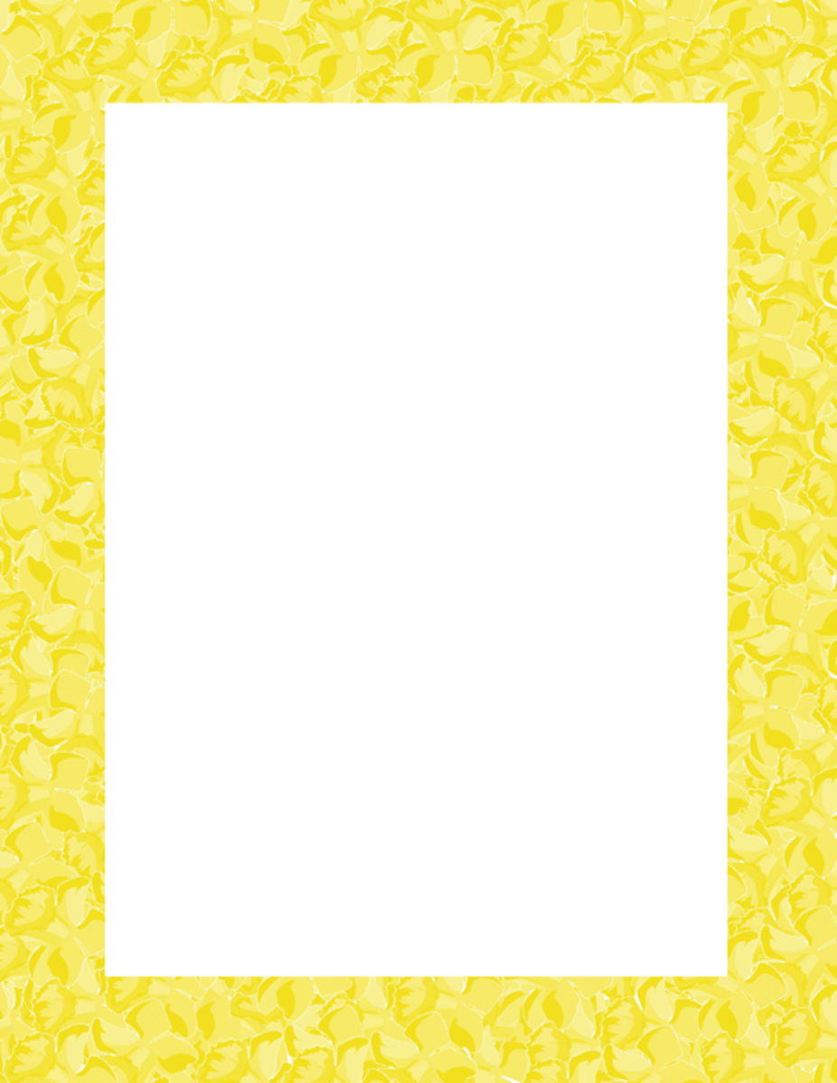 Spring Clip Art Frame Yellow Flowers