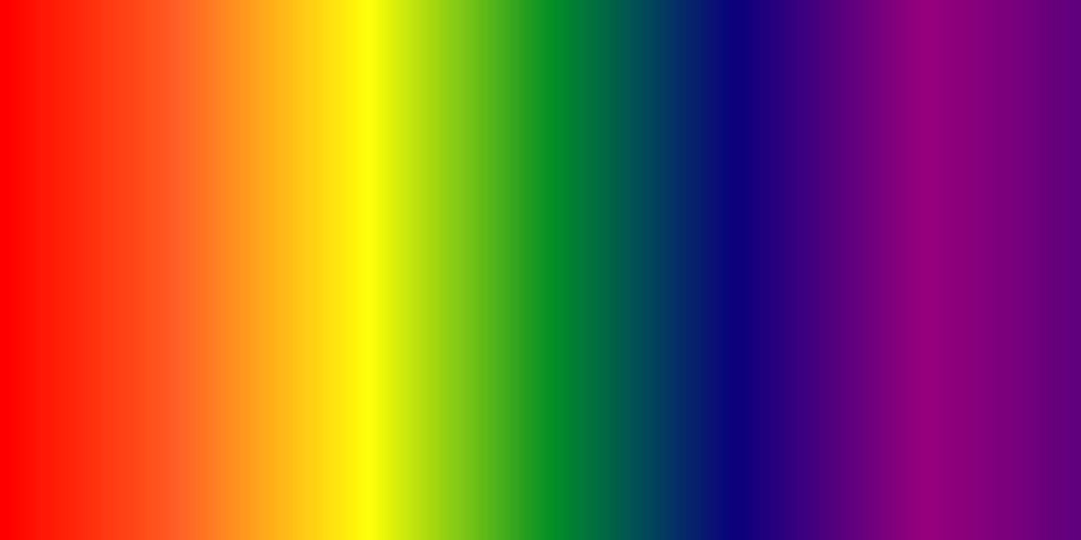 The colours of the visible light band in the electromagnetic spectrum gradually merge and change as the wavelength gradually lengthens from left to right, and from Red to Violet