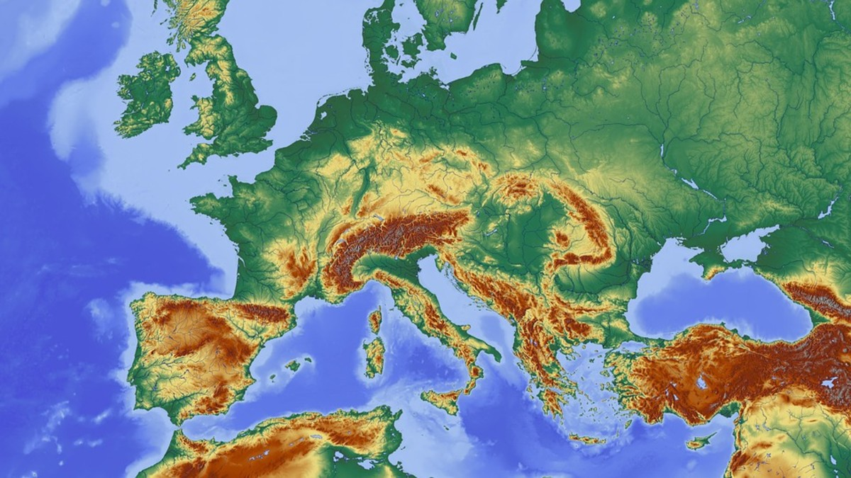 A relief map of Europe