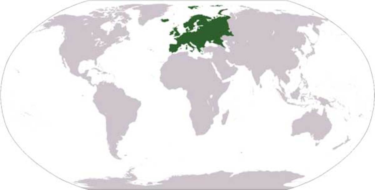 Location of Europe on a world map