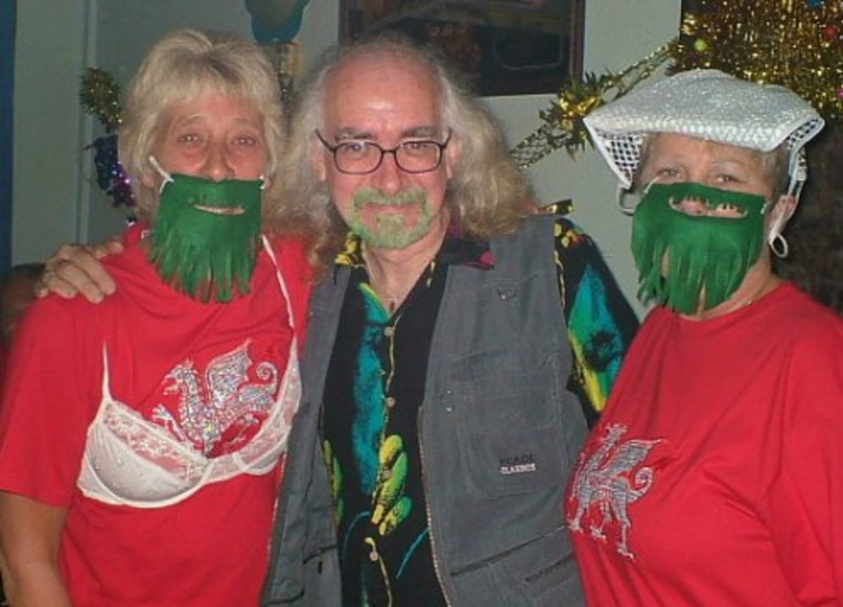 Bard of Ely with two Welsh women with green beards