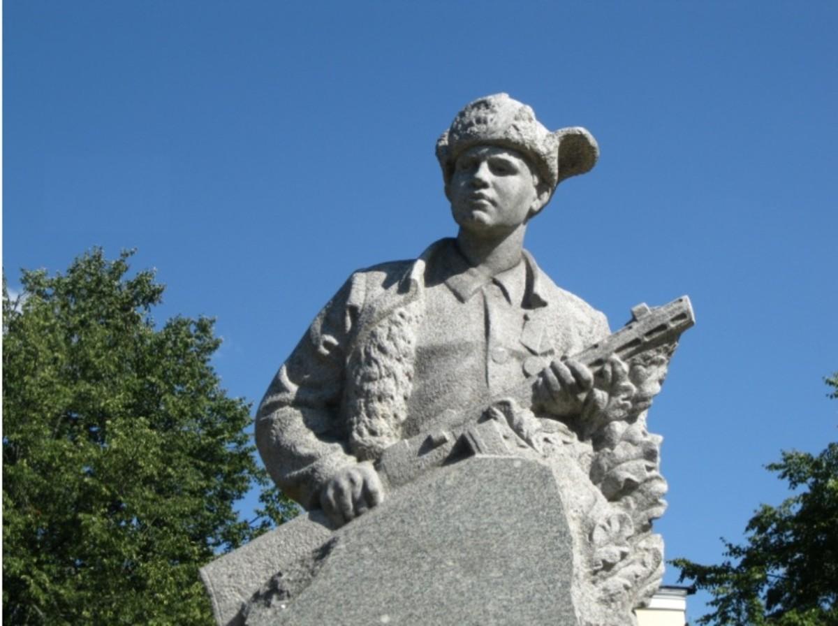 Leonid Golikov Statute in Veliky Novgorod, Russia