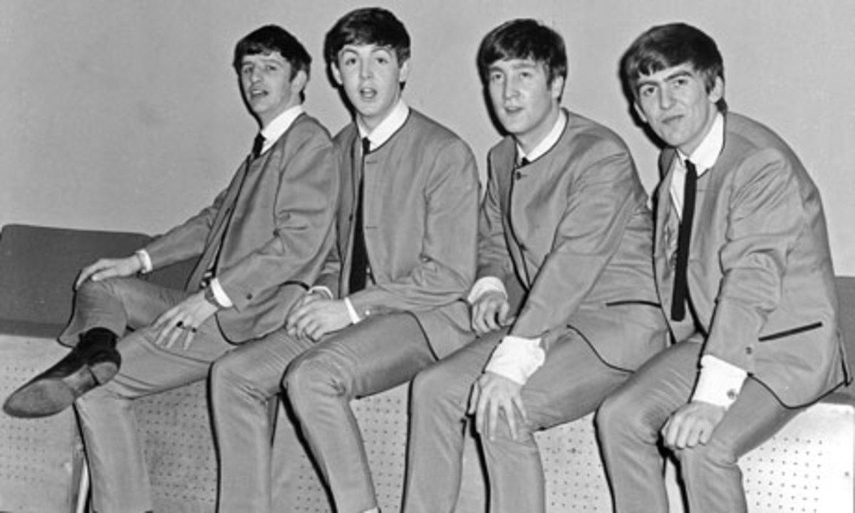 John Lennon, Paul McCartney, George Harrison, Ringo Starr of Liverpool, England.