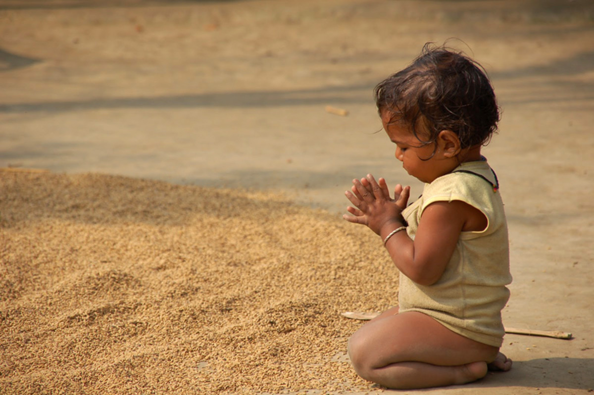 """Aa....booo booo...guuu (gurgle)"" - the baby's prayer which the Lord understands! :)"