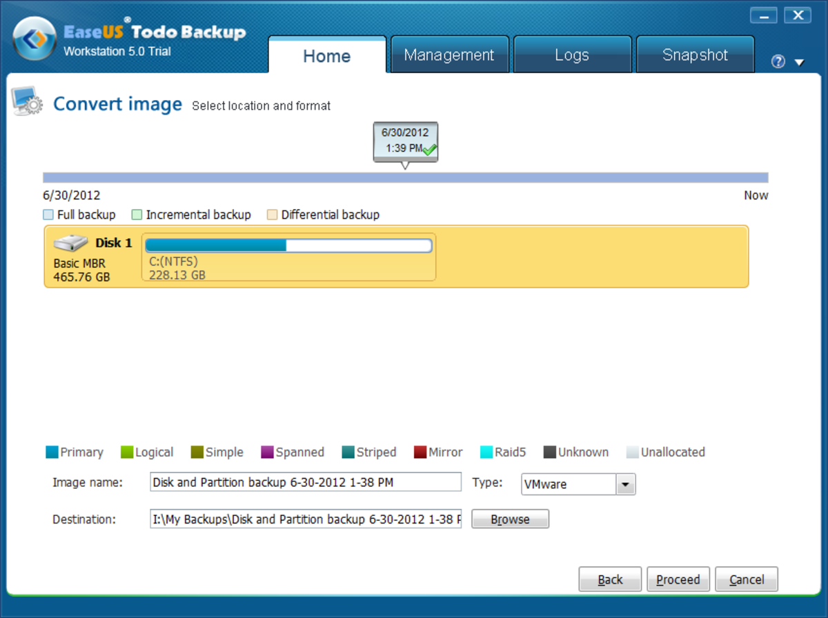 Select VMWare as the type of image to convert to