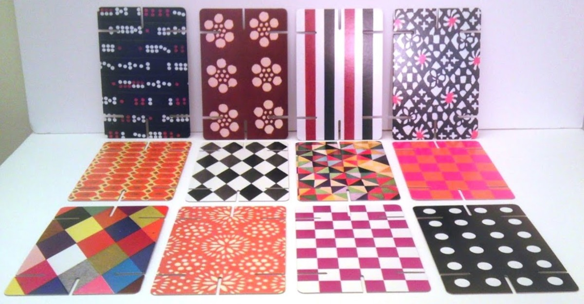 These are some of my favorite patterns from the medium-size Eames House of Cards boxed set.